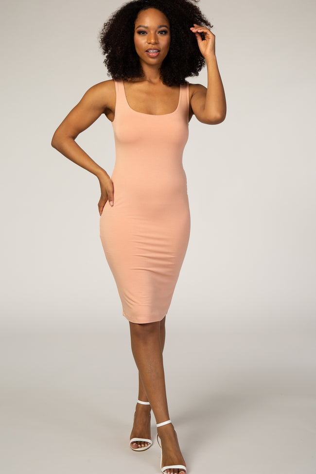 Peach Square Neckline Fitted Dress