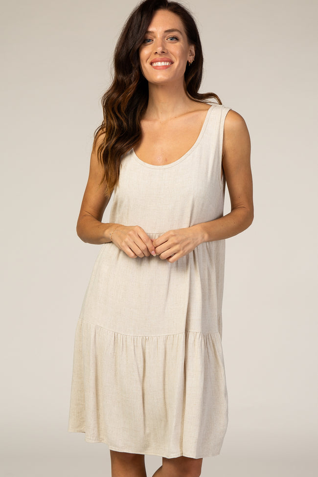 Beige Linen Tiered Dress