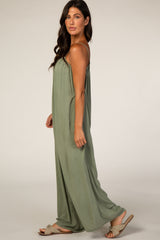 Olive Jumpsuit With Necklace