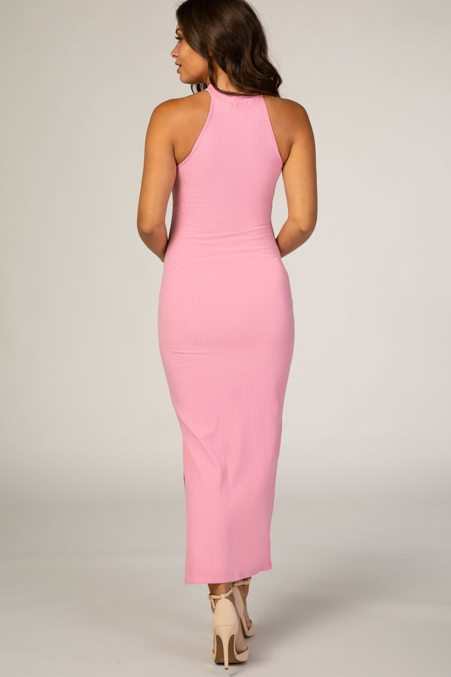 Waverleigh Pink Ribbed Halter Neck Fitted Maternity Maxi Dress