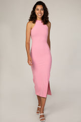 Waverleigh Pink Ribbed Halter Neck Fitted Maxi Dress