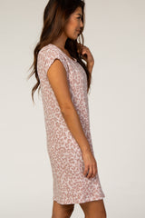 Mauve Animal Print Short Sleeve Dress