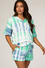 Blue Green Tie Dye Maternity Sleep Set