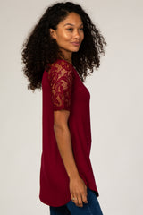 Burgundy Lace Sleeve Short Sleeve Top