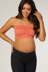 Coral Strapless Gathered Maternity Bandeau Bralette