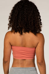 Coral Strapless Gathered Bandeau Bralette