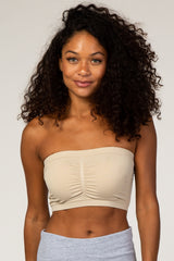 Beige Strapless Gathered Maternity Bandeau Bralette