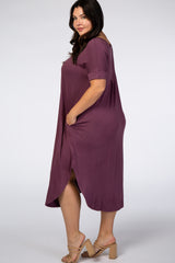 Plum Short Sleeve Plus Midi Dress