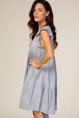 Light Blue Line Print Tiered Dress