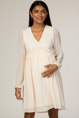 Beige Swiss Dot Textured Maternity Babydoll Dress