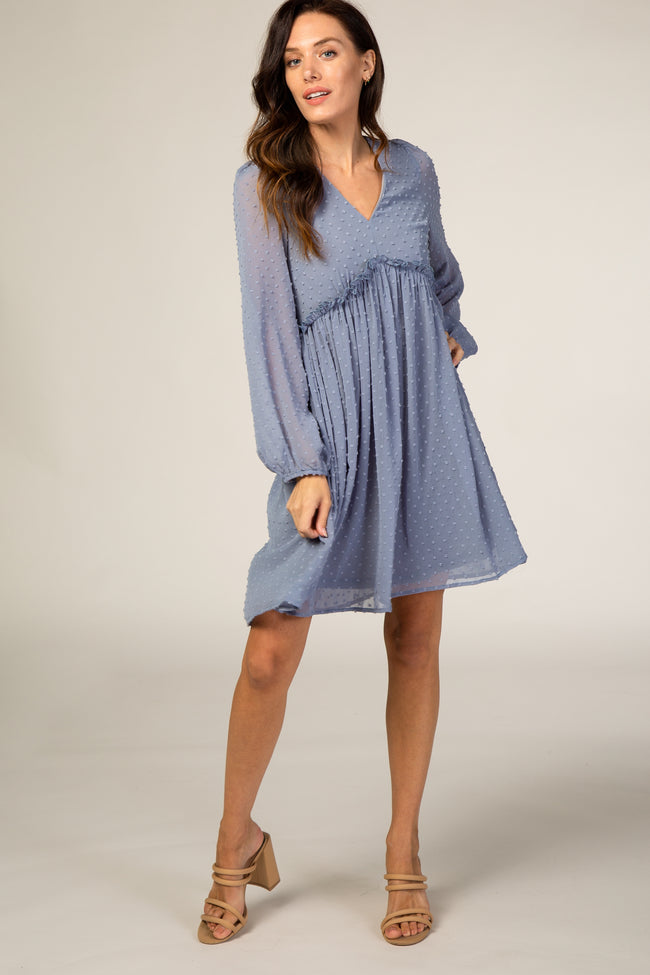 Waverleigh Slate Blue Swiss Dot Textured Maternity Babydoll Dress