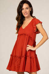 Rust Tiered Ruffle Dress