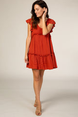 Rust Tiered Ruffle Maternity Dress