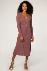 Waverleigh Burgundy Button Down Maternity Midi Dress