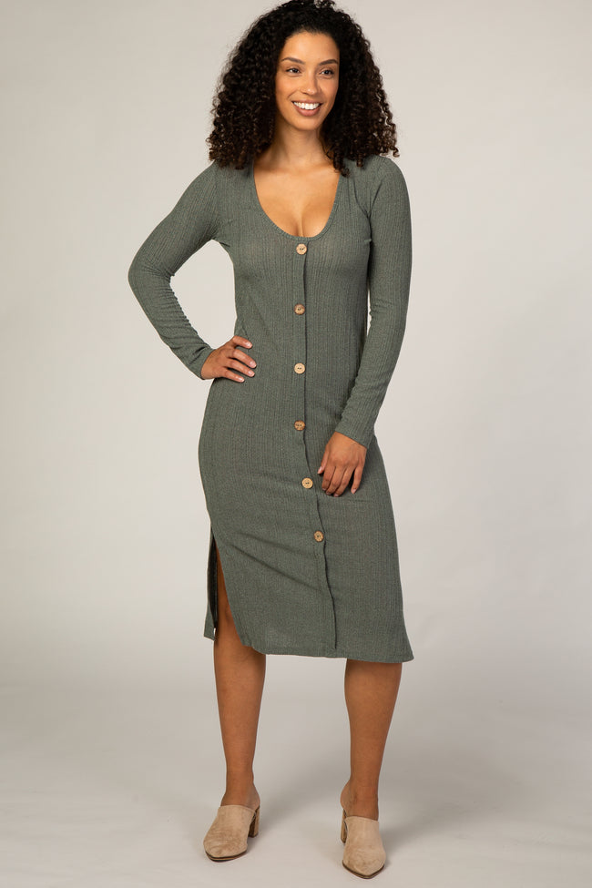 Olive Button Down Midi Dress