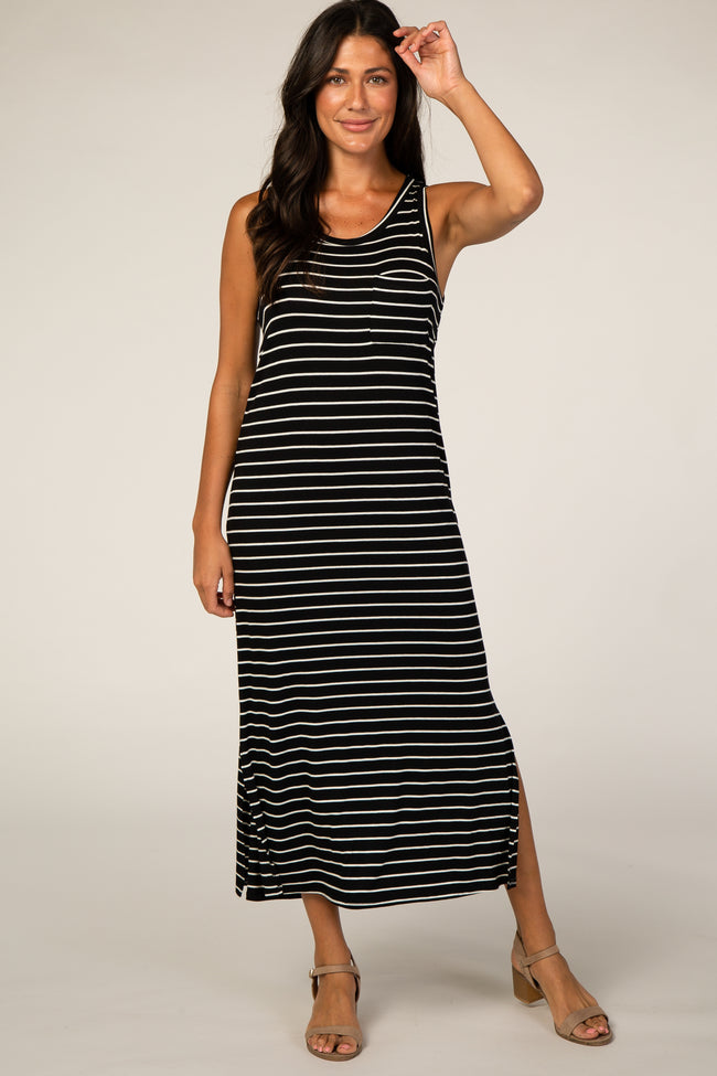 Black Striped Midi Tank Dress
