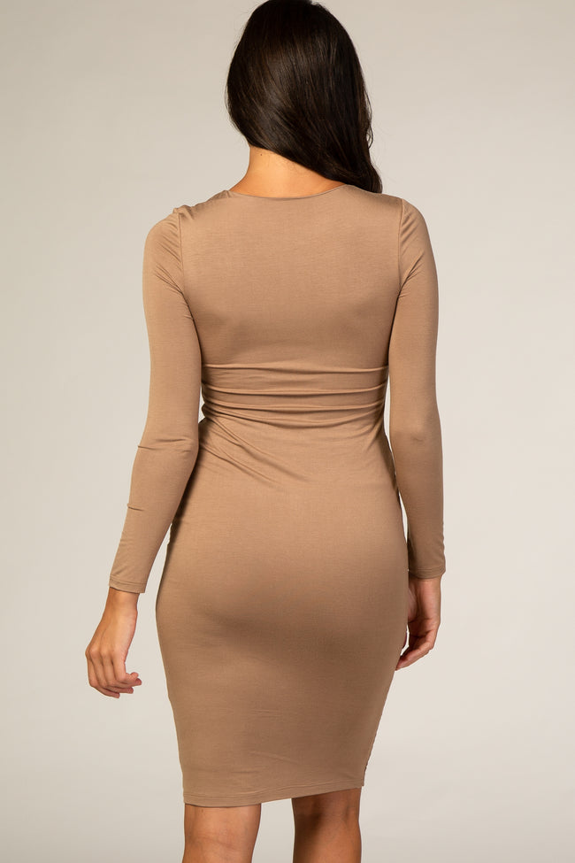 Mocha V-Neck Fitted Dress