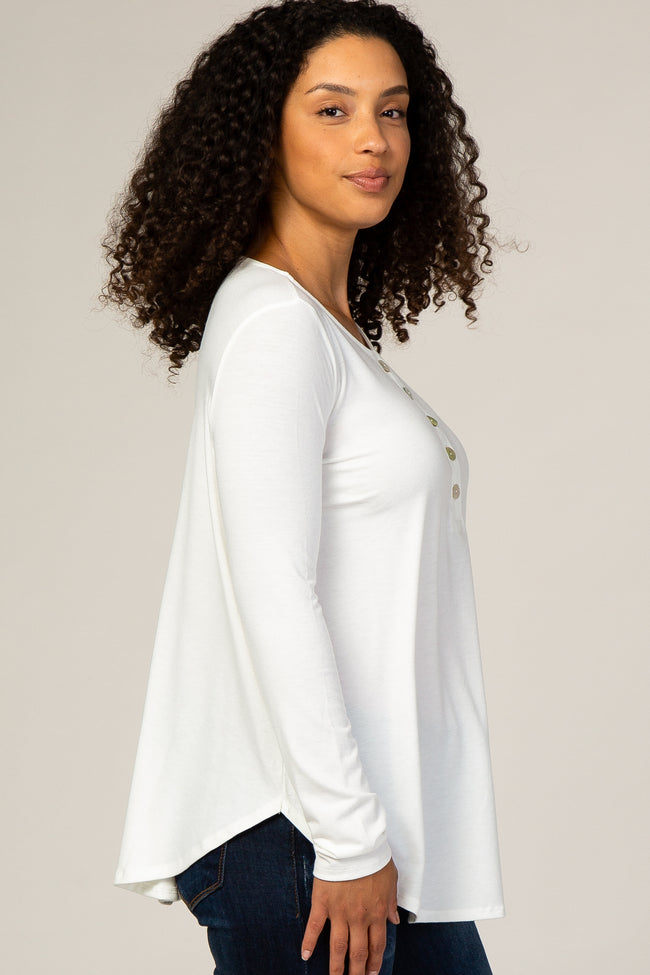 Ivory Button Accent Long Sleeve Top