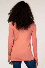 Pink V-Neck Fitted Long Sleeve Top