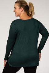 Forest Green Basic V-Neckline Plus Maternity Top