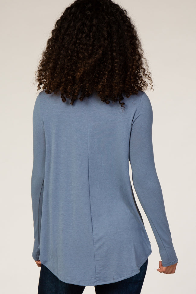 Slate Blue Basic Long Sleeve Top
