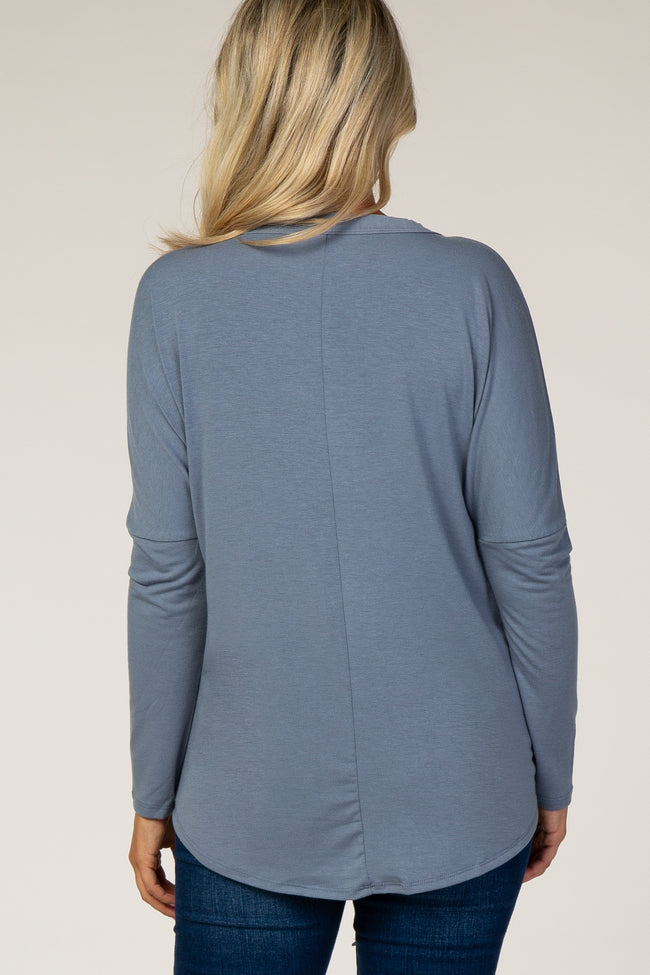 Slate Blue Button Up Tie Front Maternity Top