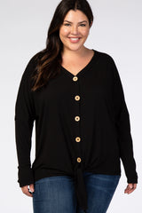 Black Button Up Tie Front Plus Maternity Top