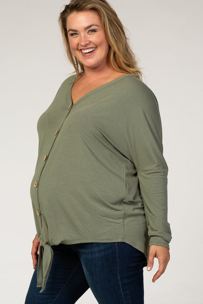 Olive Button Up Tie Front Plus Maternity Top