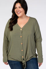 Olive Button Up Tie Front Plus Top