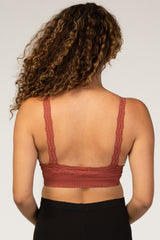 Rust Textured Rib Lace Maternity Bralette
