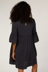 Navy Babydoll Raw Hem Dress