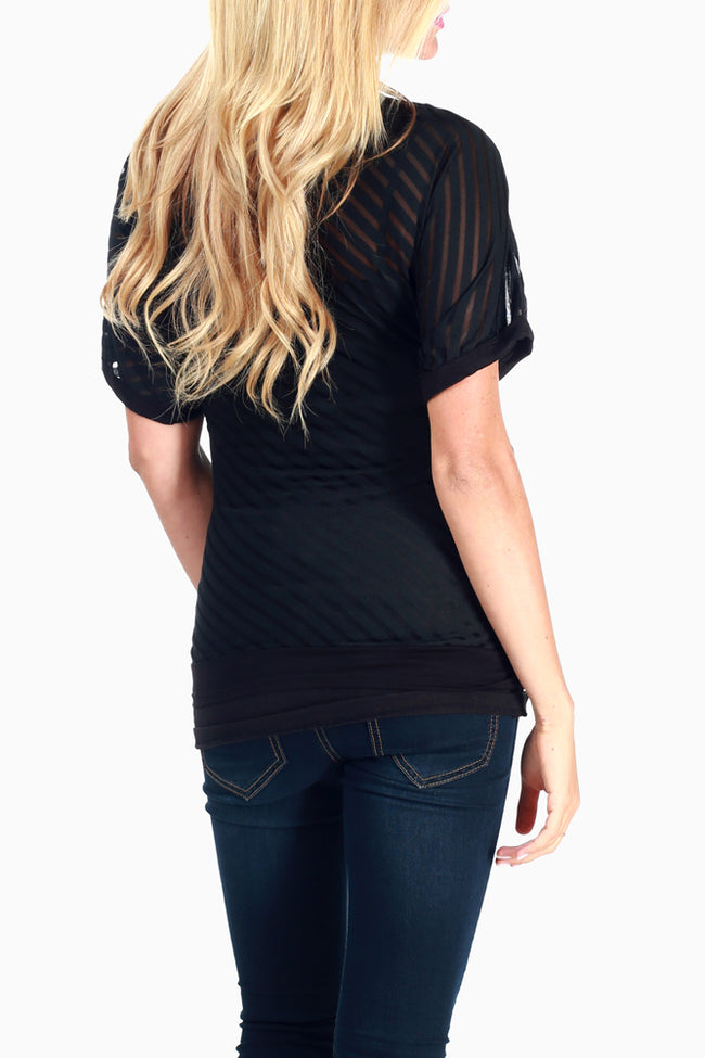 Black Sheer Striped Maternity Top