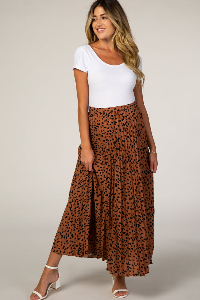 Waverleigh Rust Pleated Animal Print Maternity Maxi Skirt