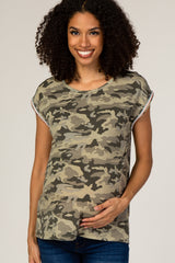 Camo Embroidered Trim Maternity Top