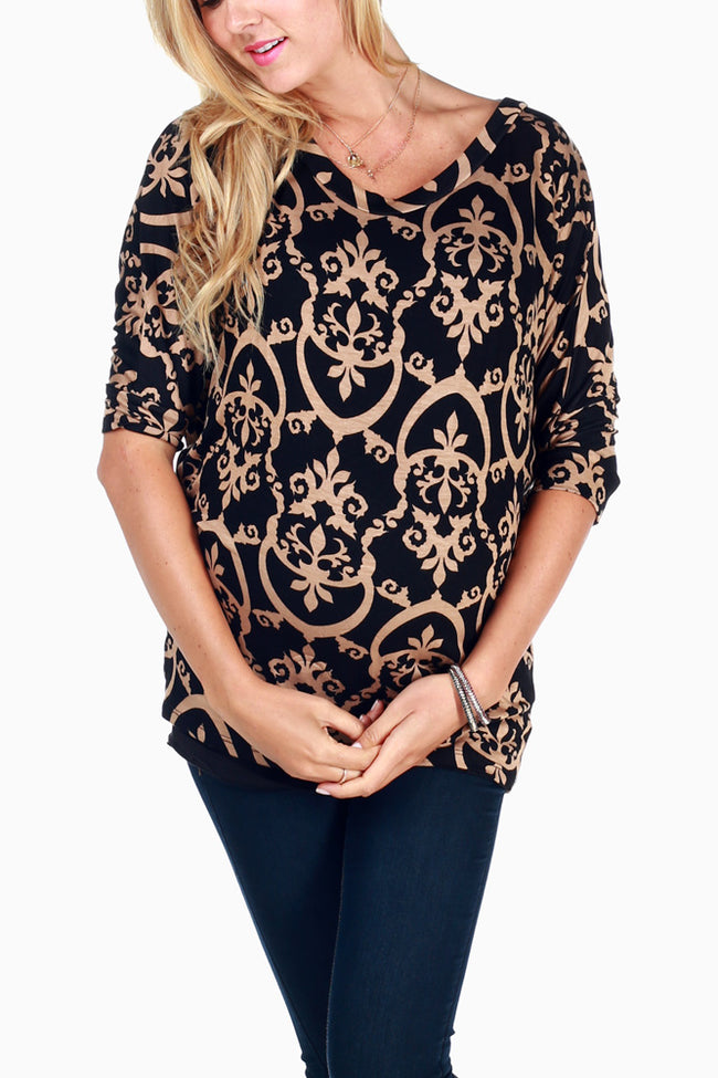 Black Beige Printed Short Sleeve Maternity Top
