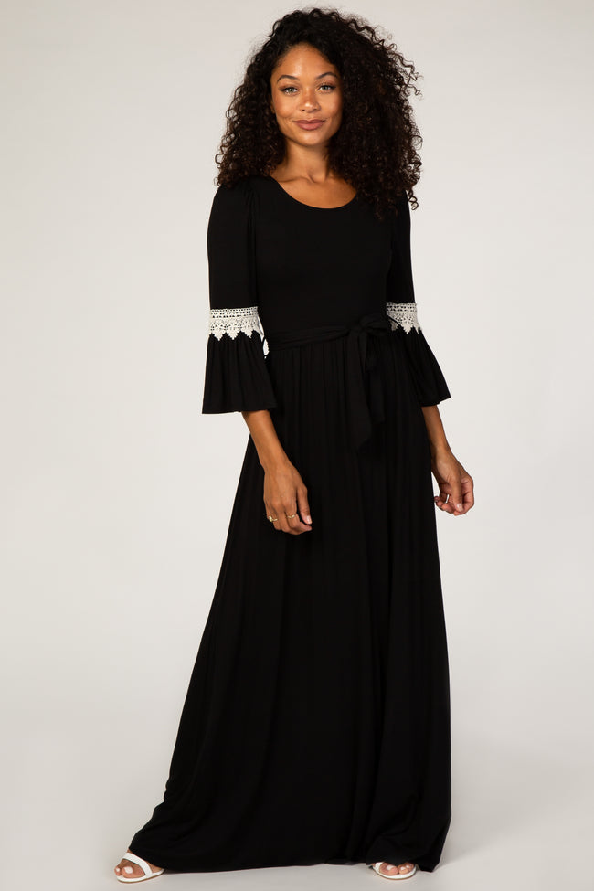 Black Sash Tie Crochet Accent Maternity Maxi Dress