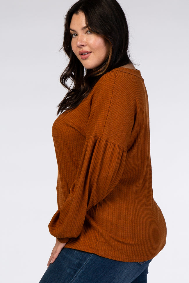 Rust Knit V-Neck Plus Sweater