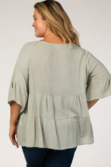 Sage Ruffle Plus Maternity Blouse