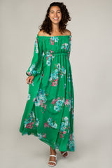 Green Floral Chiffon Off Shoulder Maternity Maxi Dress