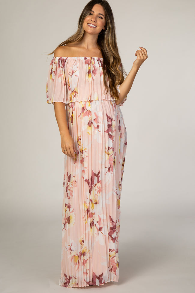 Peach Floral Pleated Maternity Maxi Dress