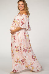 Peach Floral Pleated Maternity Plus Maxi Dress