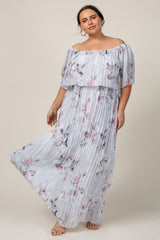 Grey Floral Pleated Plus Maxi Dress