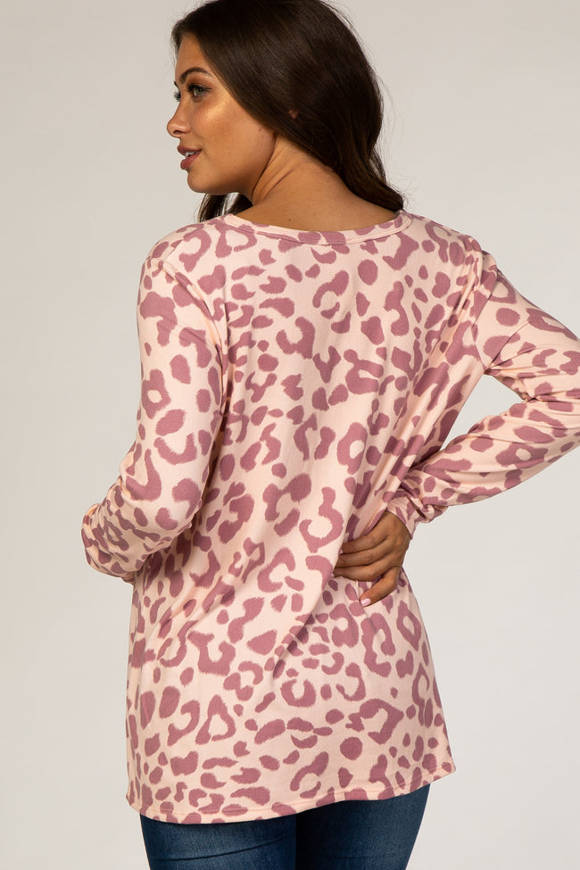 Pink Animal Print Long Sleeve Maternity Top