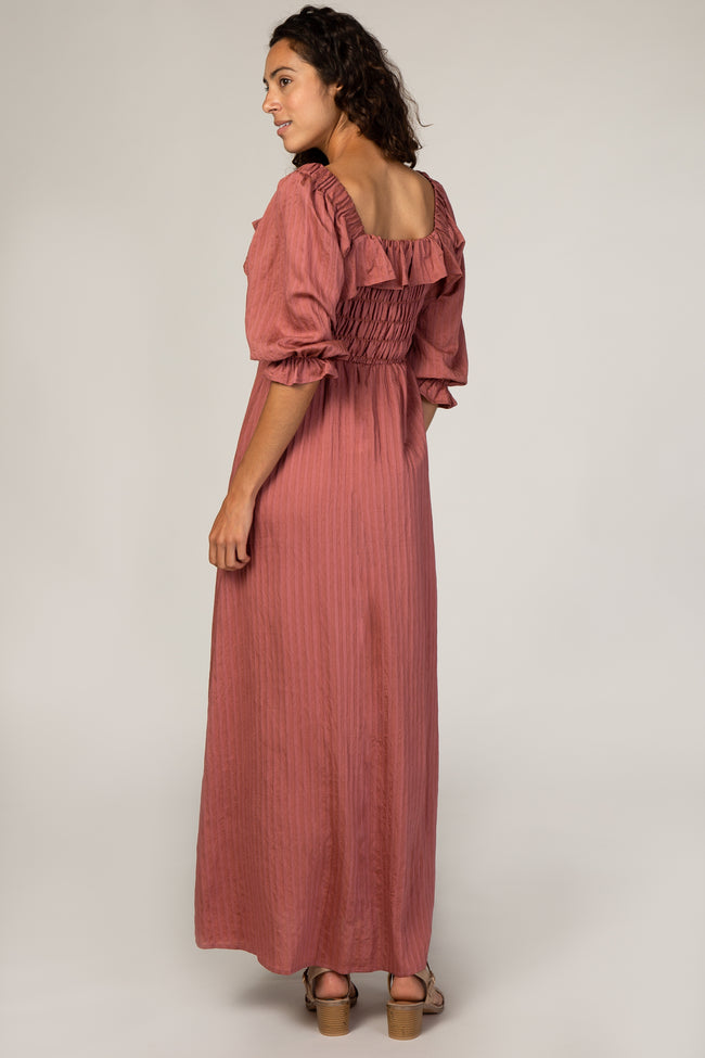Rust Smocked Ruffle Maxi Dress