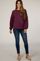 Plum Flowy Sleeve Maternity Top