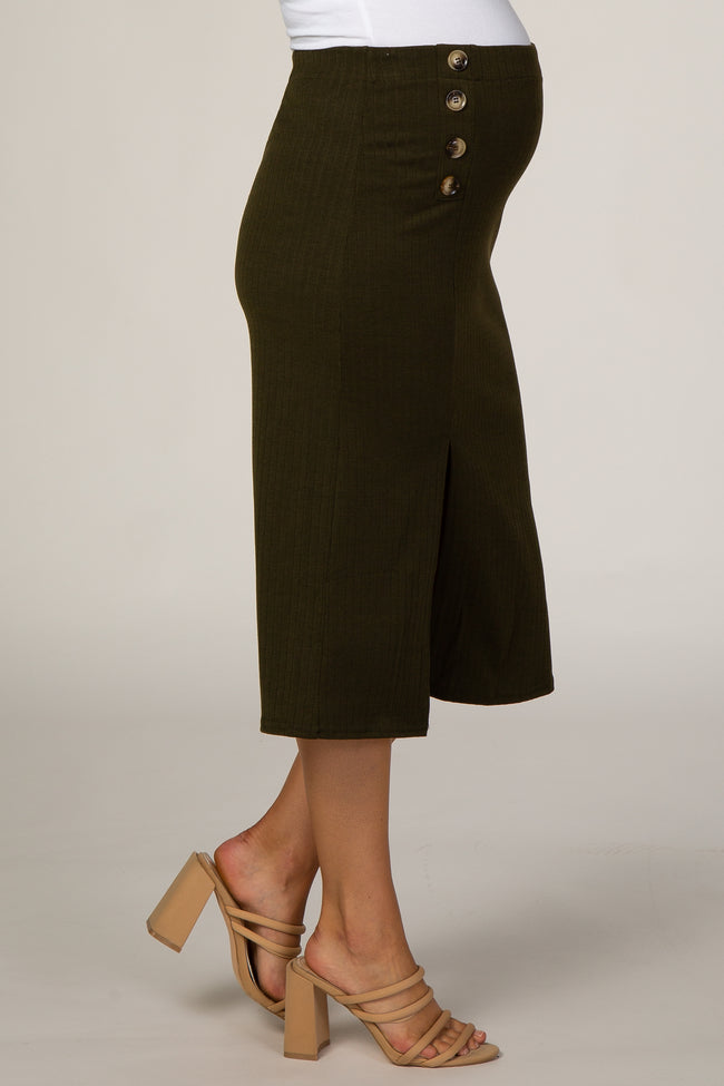 Olive Ribbed Side Slit Button Detail Maternity Midi Skirt