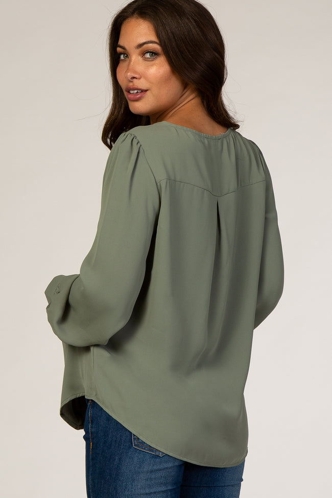 Olive Button Up Maternity Blouse