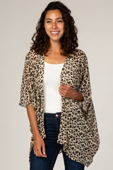 Beige Animal Print Chiffon Maternity Cover Up