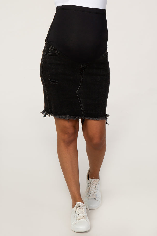 PinkBlush Black Distressed Denim Maternity Skirt