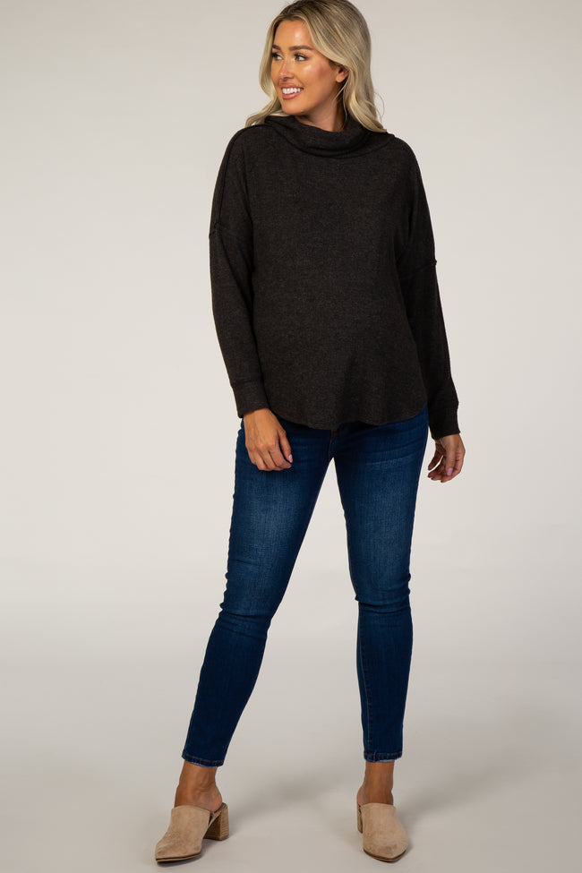Charcoal Fuzzy Cowl Neck Maternity Top